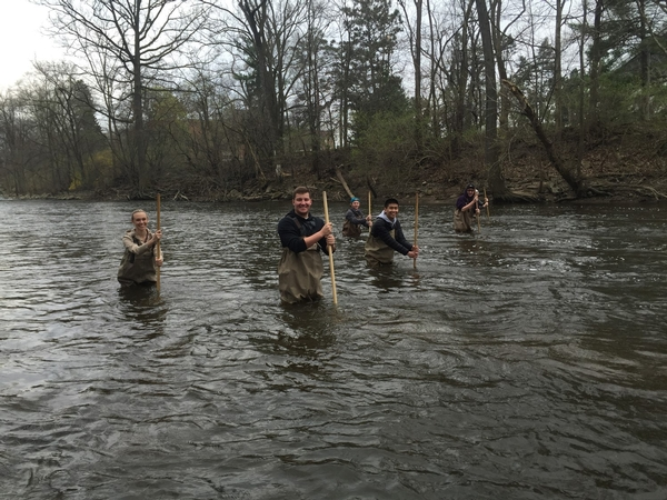 Collecting macroinvertebrates